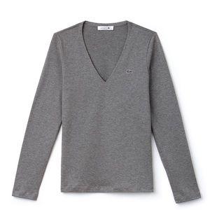 Gray Lacoste long sleeve shirt